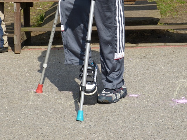 Injured Person Using Crutches